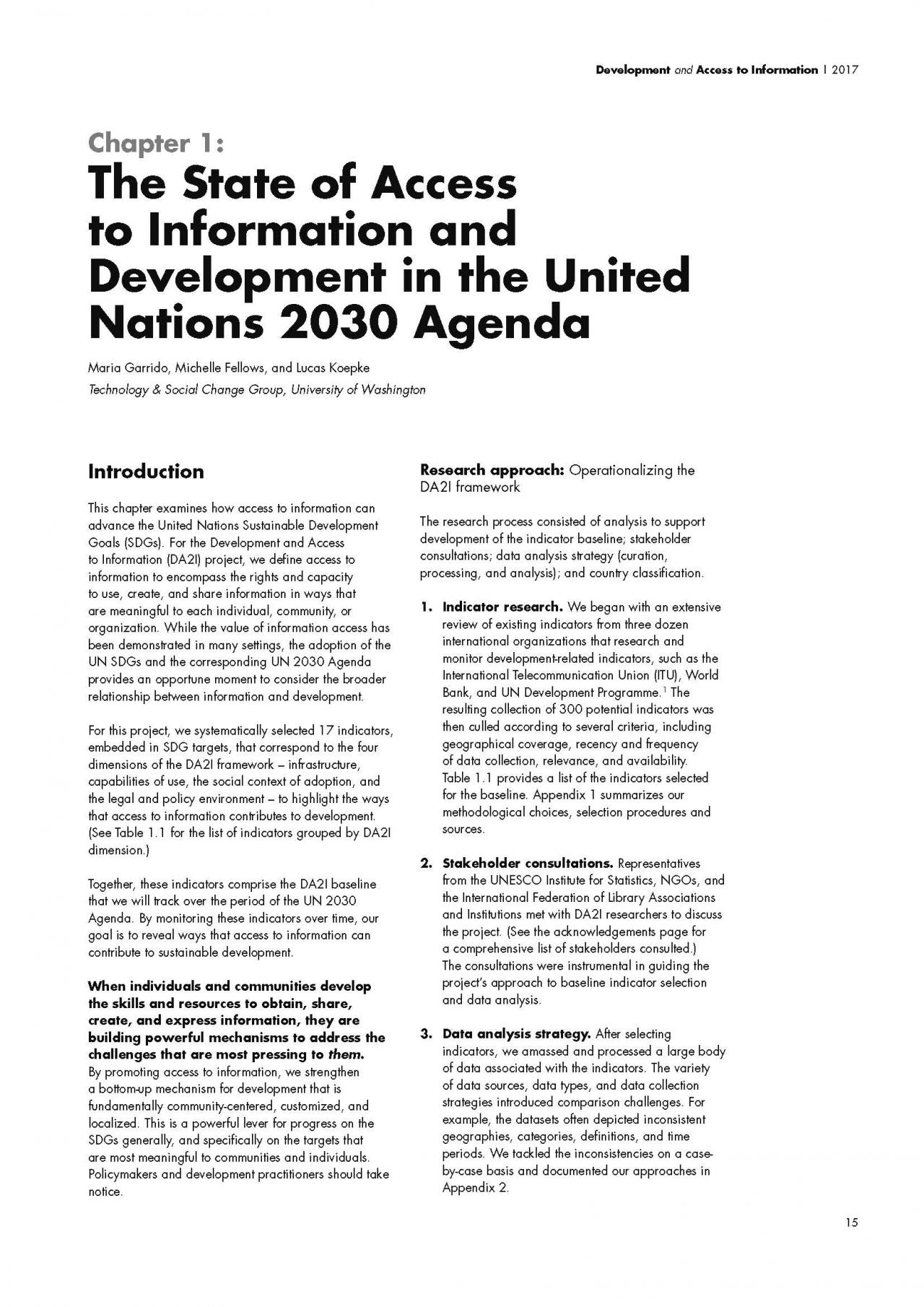 Chapter 1: The State of Access to Information and Development in the United Nations 2030 Agenda