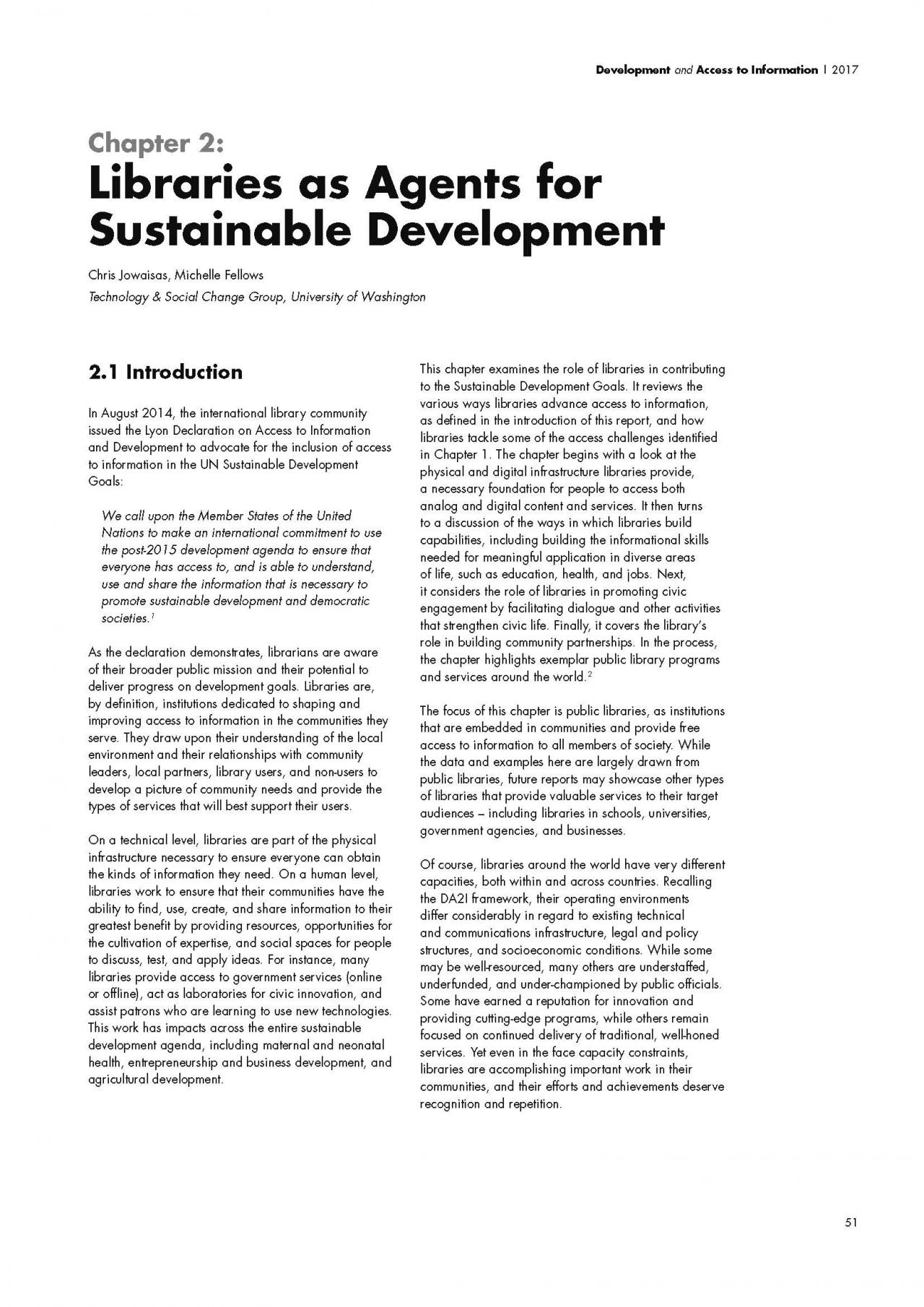 Chapter 2: Libraries as Agents for Sustainable Development