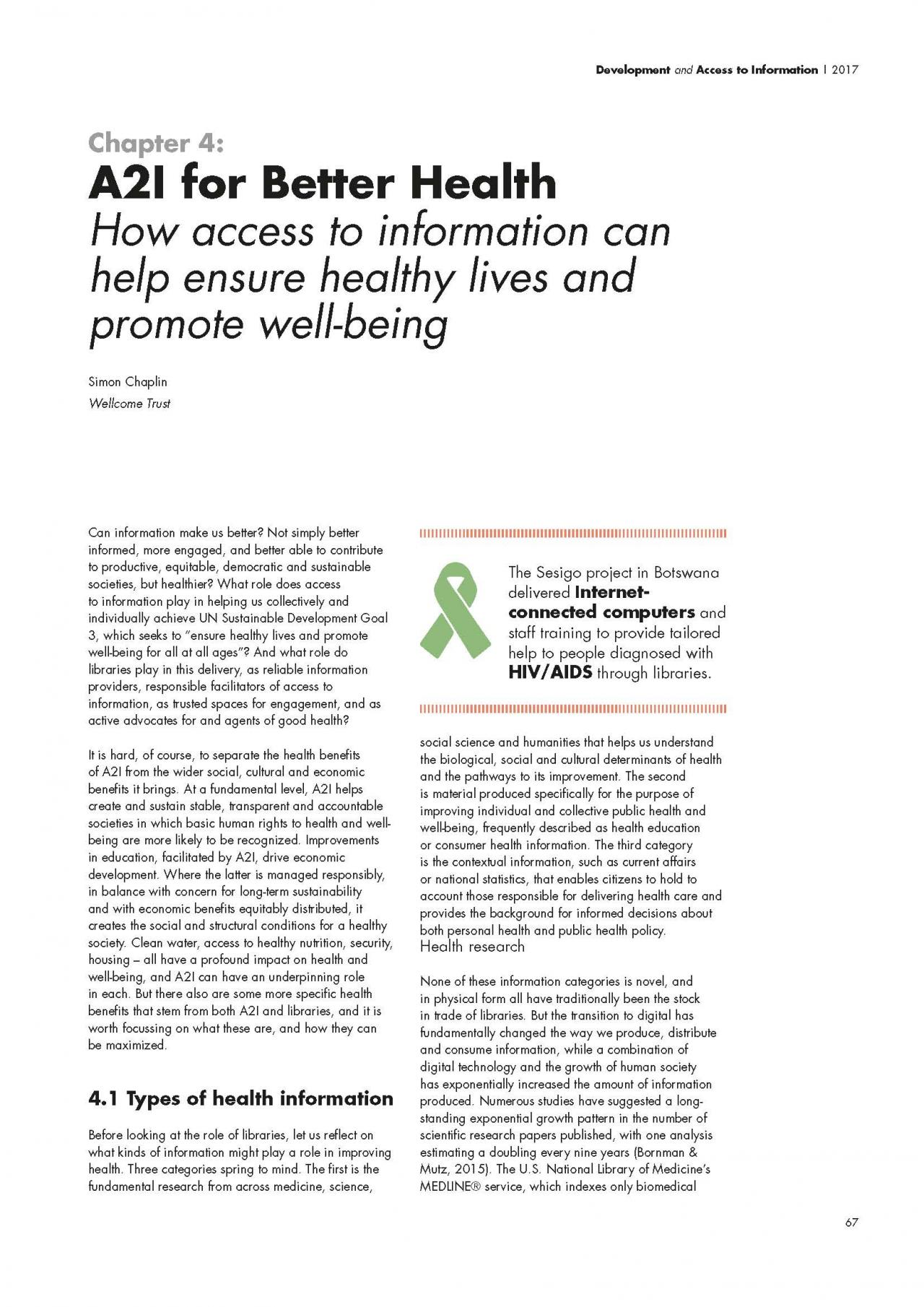 Chapter 4: A2I for Better Health: How access to information can help ensure healthy lives and promote well-being