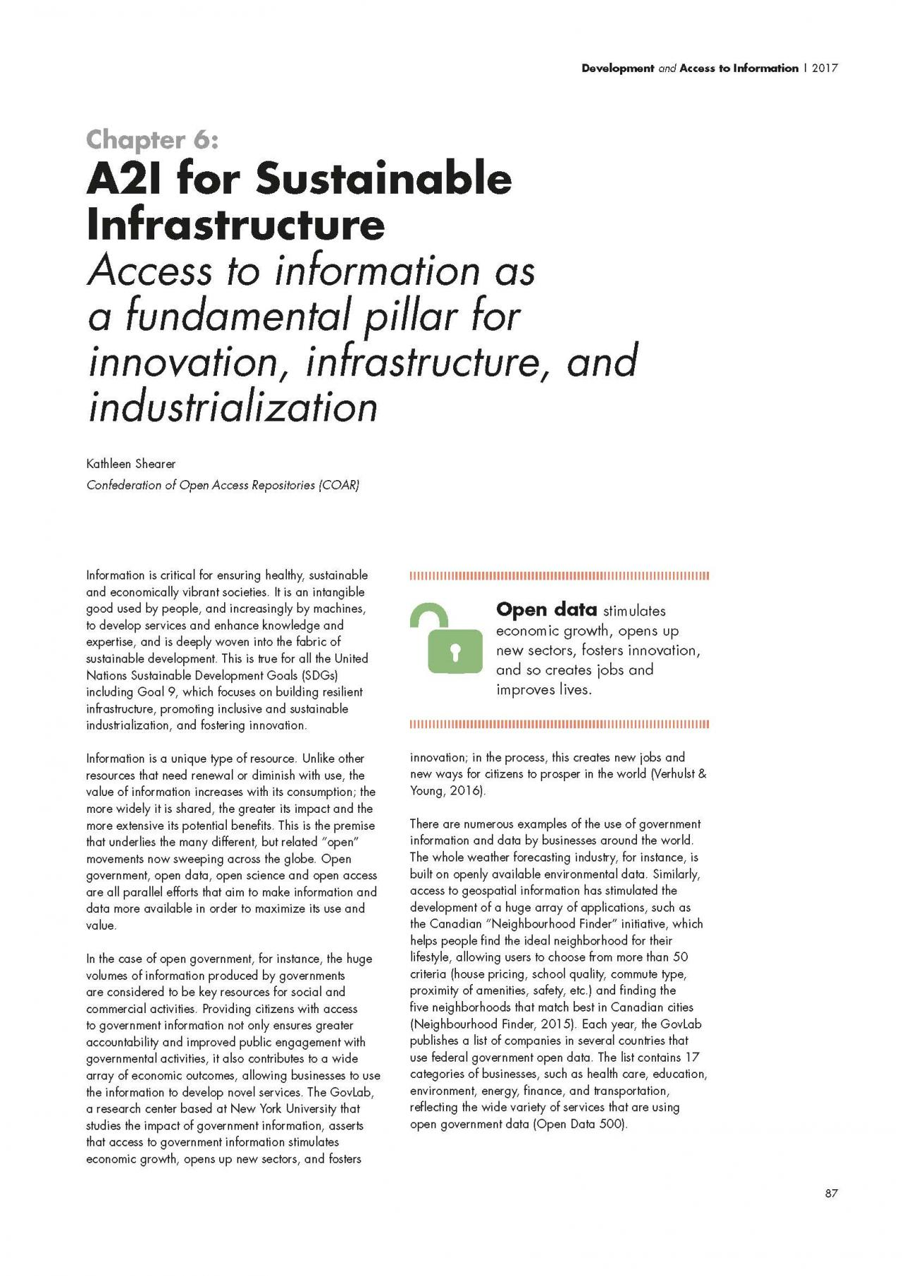 Chapter 6: A2I for Sustainable Infrastructure: Access to information as a fundamental pillar for innovation, infrastructure, and industrialization